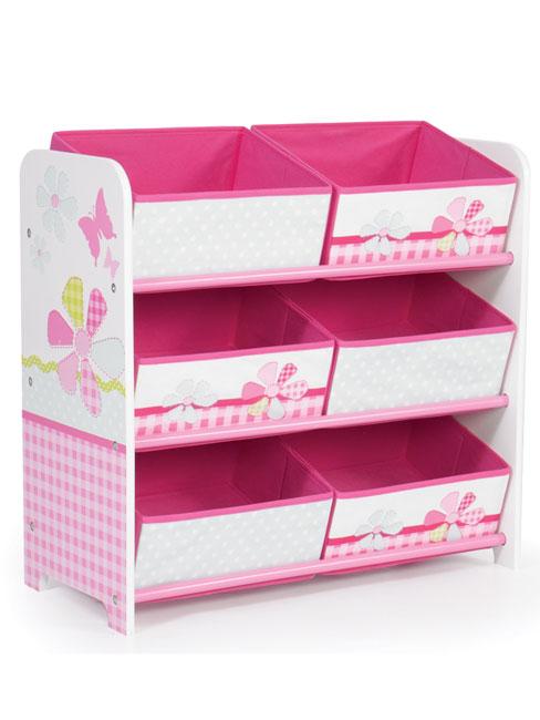 Girls Pink Patchwork 6 Bin Storage