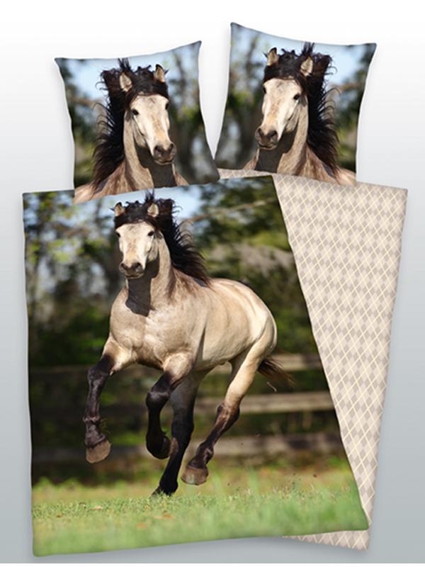 grey horse single cotton duvet cover and pillowcase set