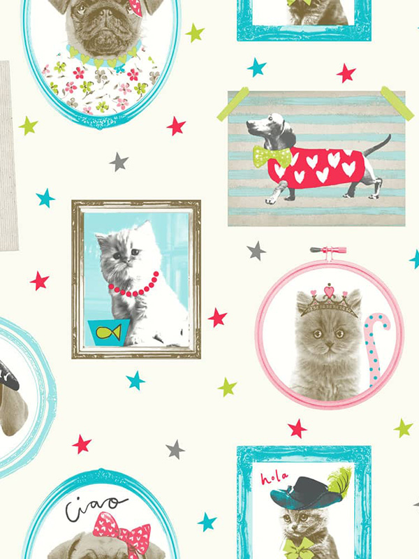 Price Right Home Hall of Fame Dogs and Cats Wallpaper - Cream - Arthouse 668400