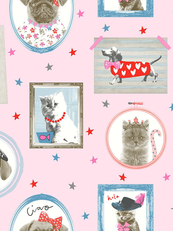 Price Right Home Hall of Fame Dogs and Cats Wallpaper - Pink - Arthouse 668401