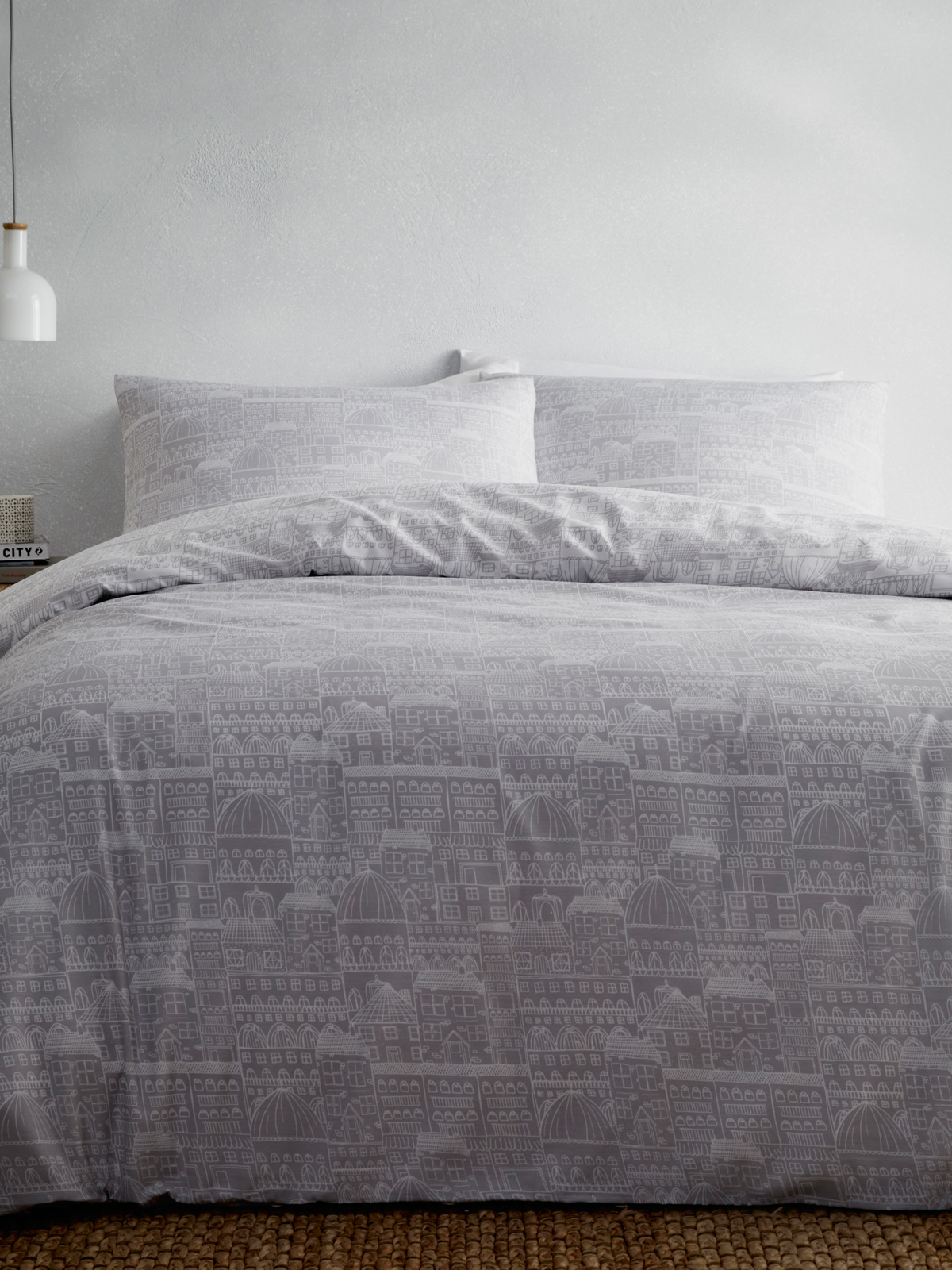 Portfolio Old Town Grey King Size Duvet Cover Set