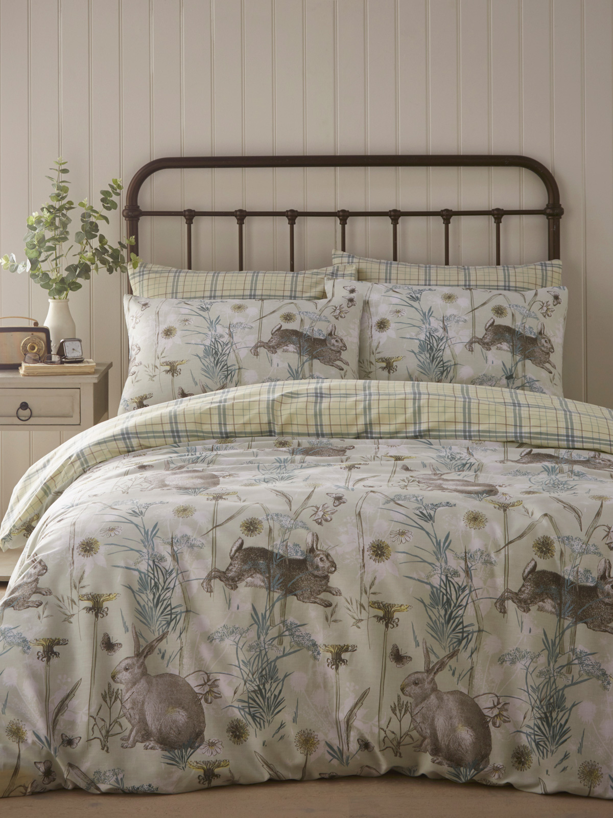 Portfolio Rabbit Meadow Sage King Size Duvet Cover Set