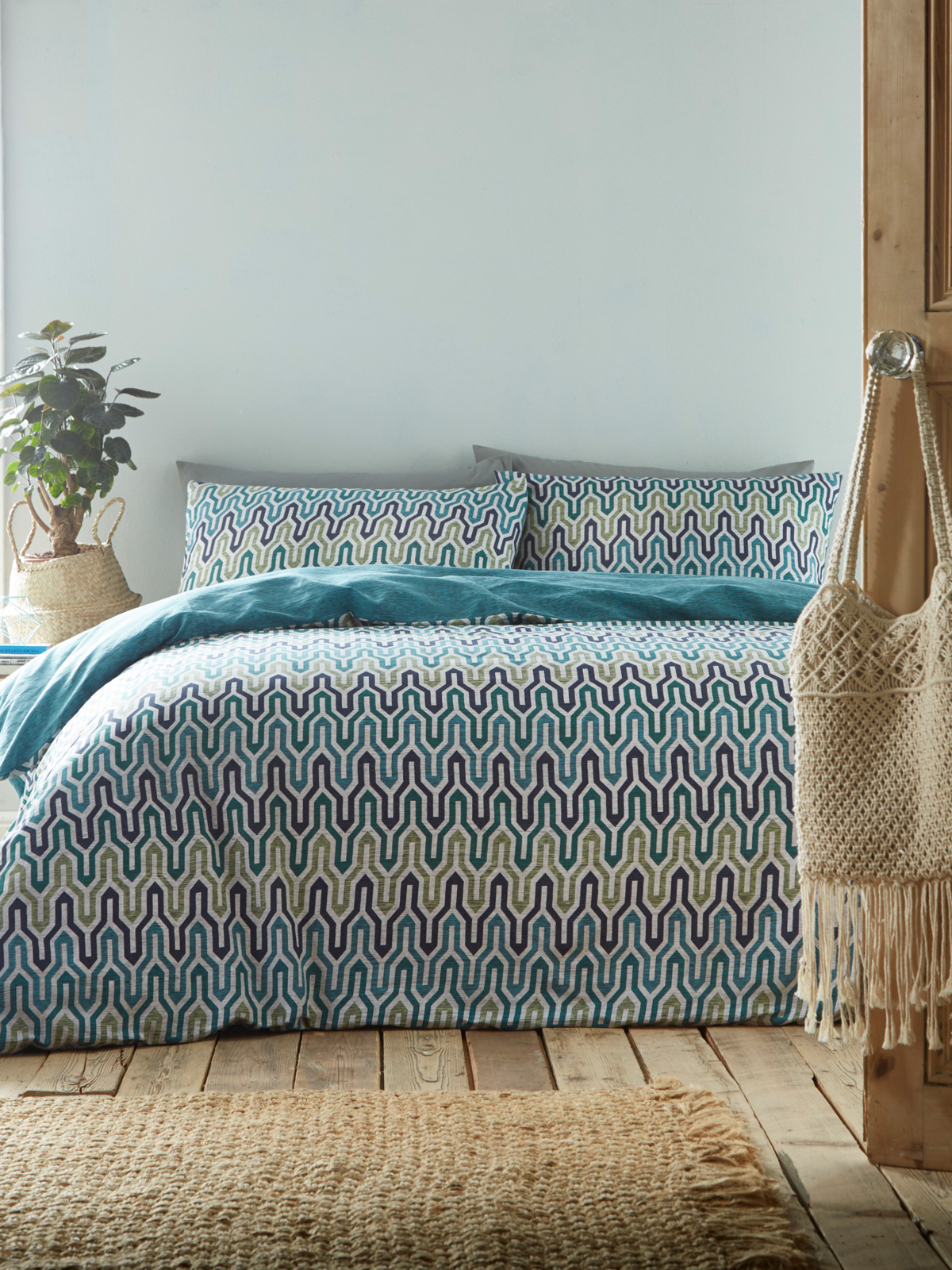 Portfolio Riley Aqua King Size Duvet Cover Set