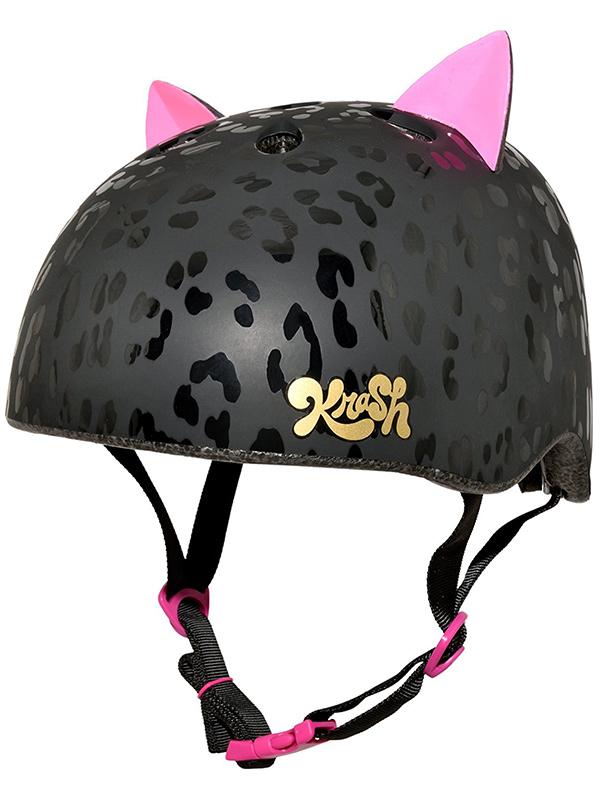 Krash Leopard Kitty Safety Helmet Black