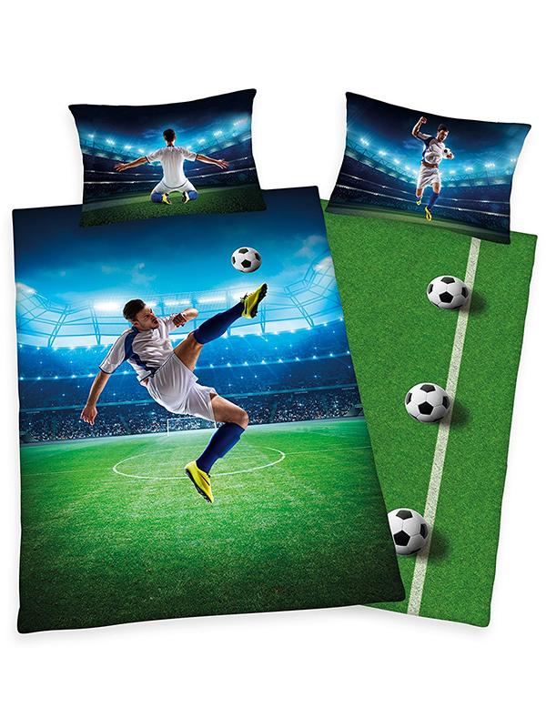 Football Bicycle Kick Single Duvet Cover and Pillowcase Set