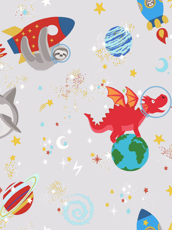 Over the Rainbow Space Animals Glow in the Dark Wallpaper Grey Holden
