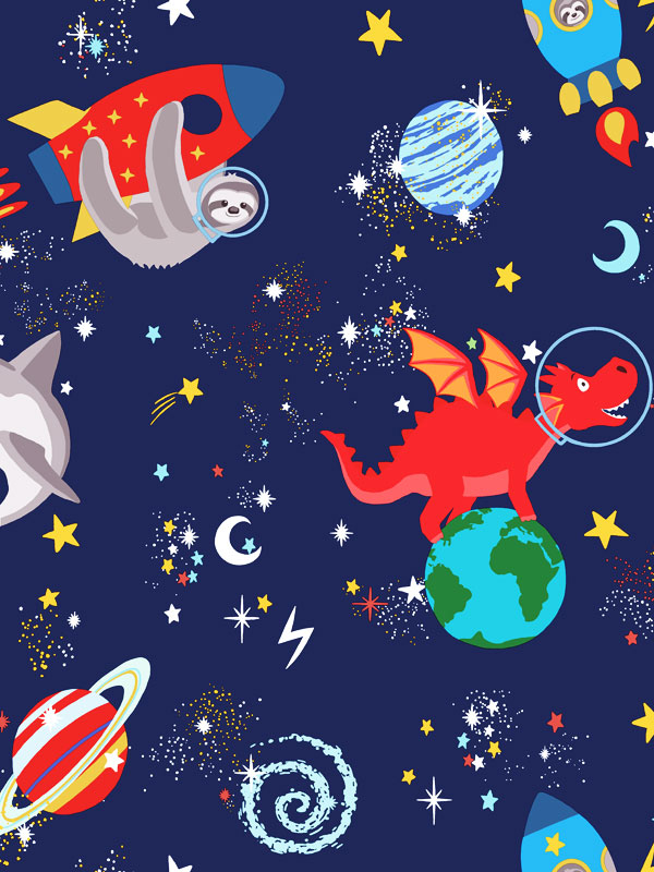 Over the Rainbow Space Animals Glow in the Dark Wallpaper Navy Holden