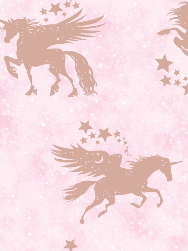 Over the Rainbow Iridescent Unicorns Wallpaper Pink / Rose Gold Holden