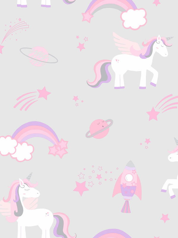 Over the Rainbow Unicorns and Rockets Wallpaper Grey Holden 90960