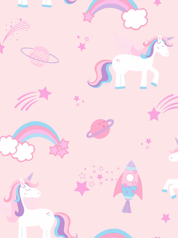 Over the Rainbow Unicorns and Rockets Wallpaper Pink Holden 90961