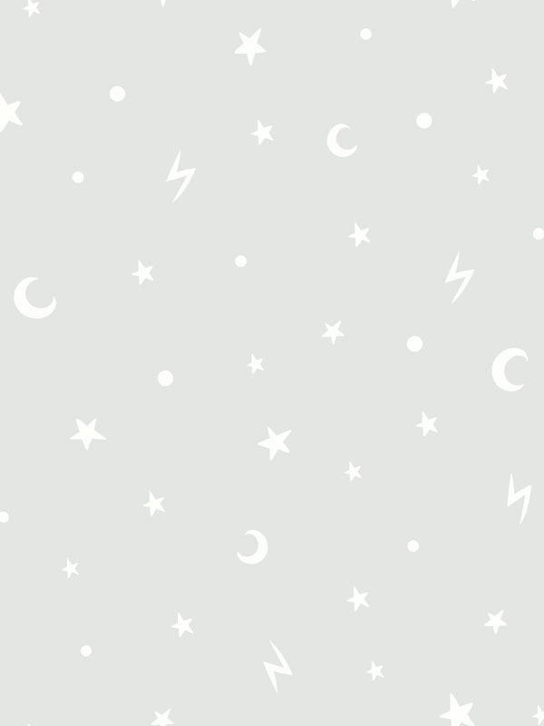 Over the Rainbow Stars and Moons Glow in the Dark Wallpaper Grey