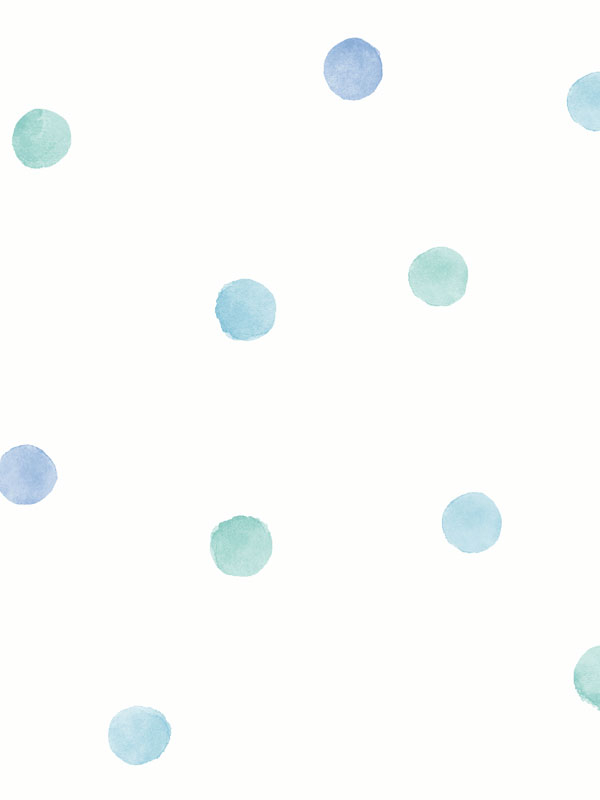 Over the Rainbow Watercolour Polka Dots Wallpaper Blue / Teal Holden