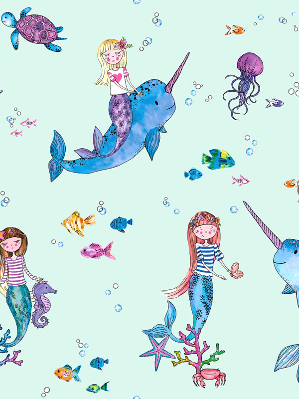 Over the Rainbow Narwhals and Mermaids Wallpaper Light Teal Holden