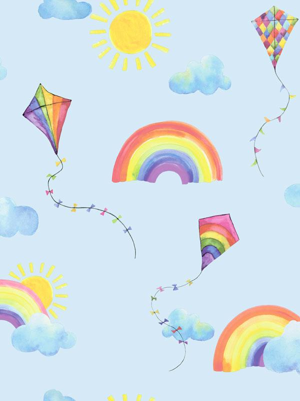 Over the Rainbow Flying Kites Wallpaper Blue / Multi Holden 91022