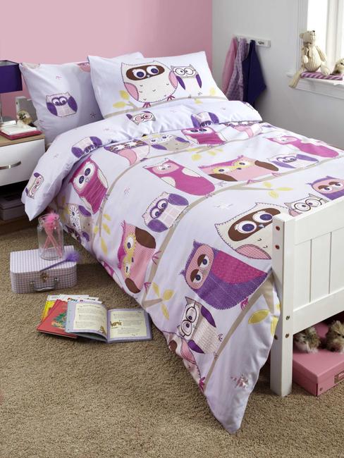 hoot owl single duvet cover and pillowcase set