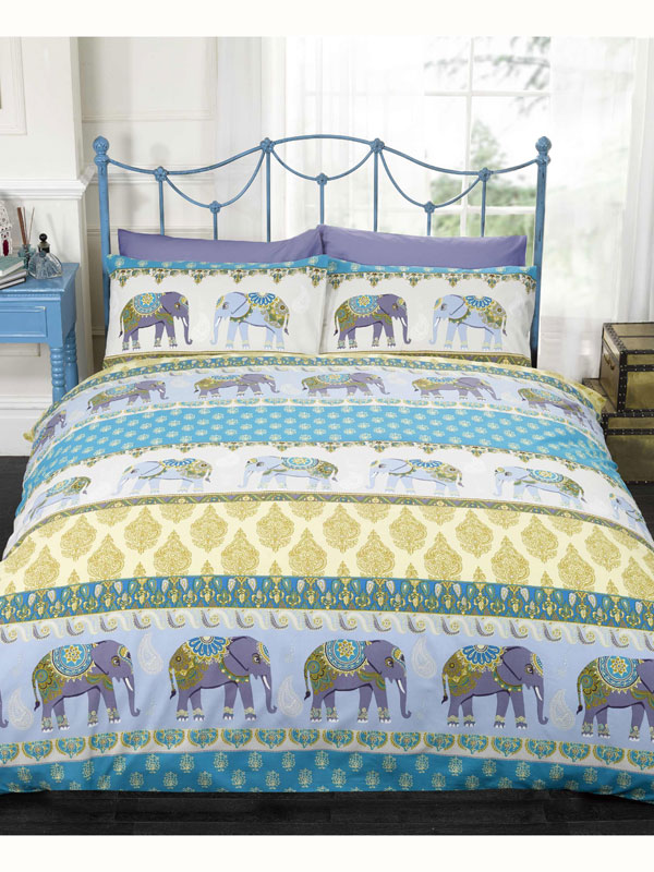 Price Right Home Jaipur Elephant Single Duvet Cover and Pillowcase Set - Blue