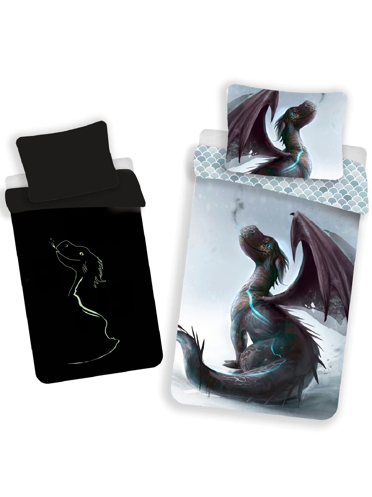 Dragon Glow in the Dark Single Duvet Cover - European Size