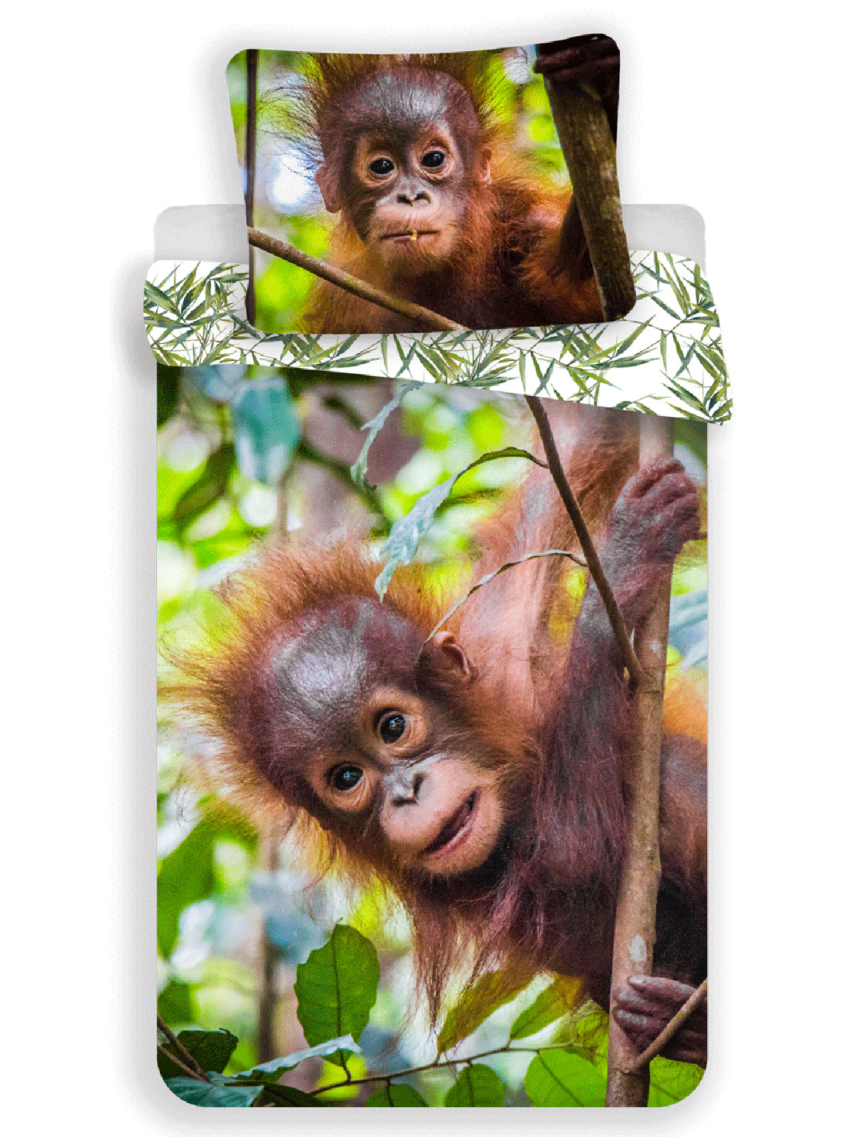 Orangutan 100% Cotton Single Duvet Cover and Pillowcase Set - European