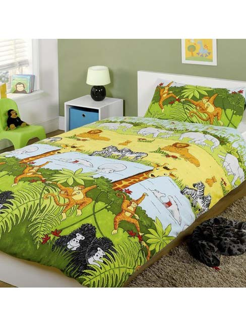 jungle animals single duvet cover and pillowcase set