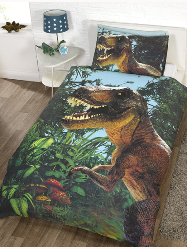 jurassic trex single duvet cover and pillowcase set  exclusive