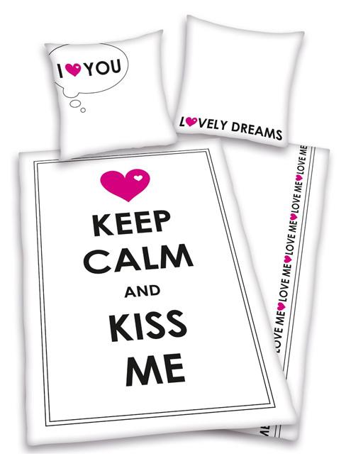 Price Right Home Keep Calm & Kiss Me Single Duvet Cover & Pillowcase Set