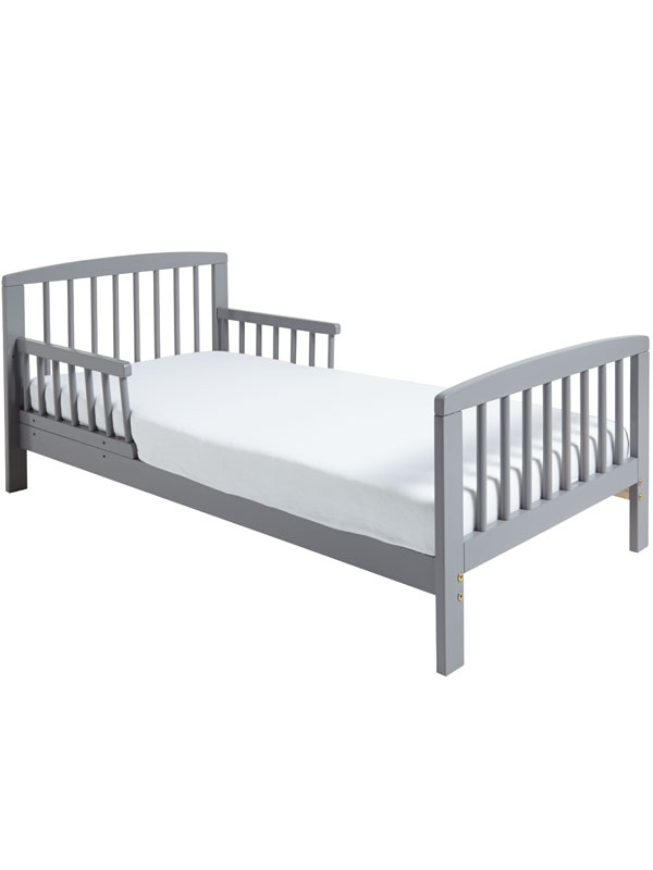 Classic Wooden Toddler Bed Grey Plus Deluxe Foam Mattress