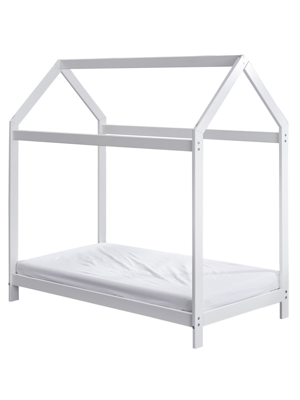 Wooden Toddler Bed House White Plus Fully Sprung Mattress