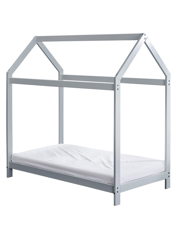 Wooden Toddler Bed House Grey Plus Fully Sprung Mattress