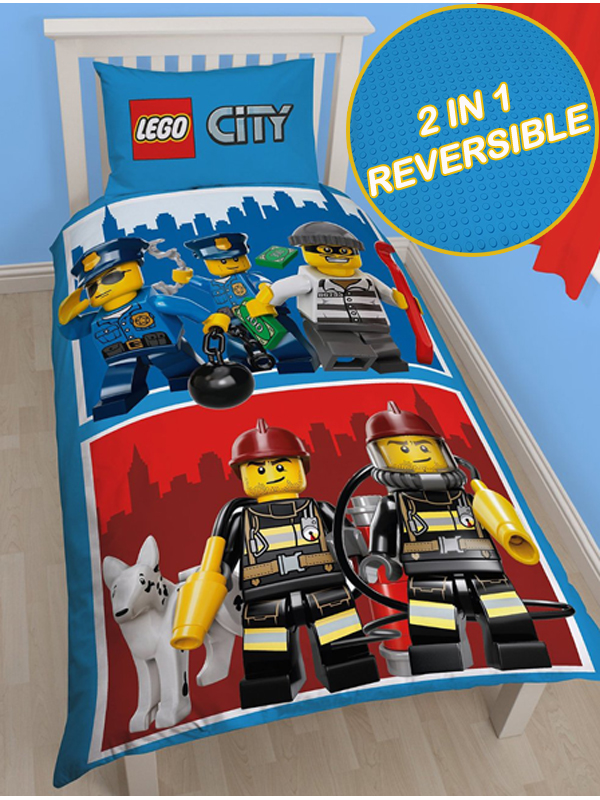 Lego City Heroes Single Cotton Duvet Cover and Pillowcase Set