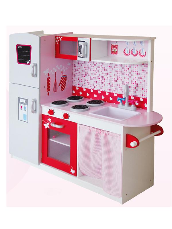 Leomark Big Wooden Kitchen with Fridge Pink