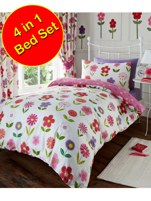 Little Flowers 4 in 1 Junior Bedding Bundle Duvet Pillow and Covers
