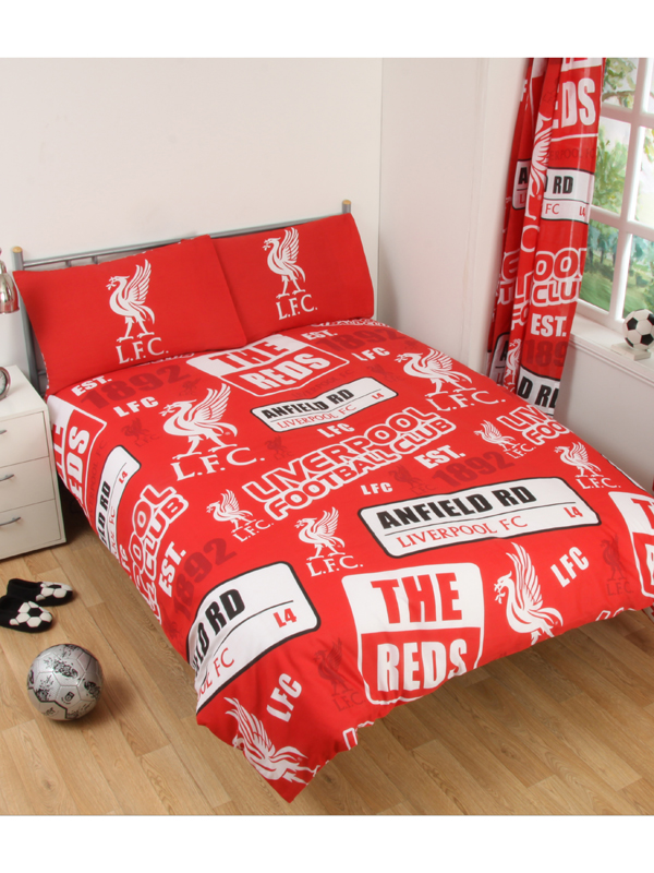 liverpool fc patch double duvet cover and pillowcase set