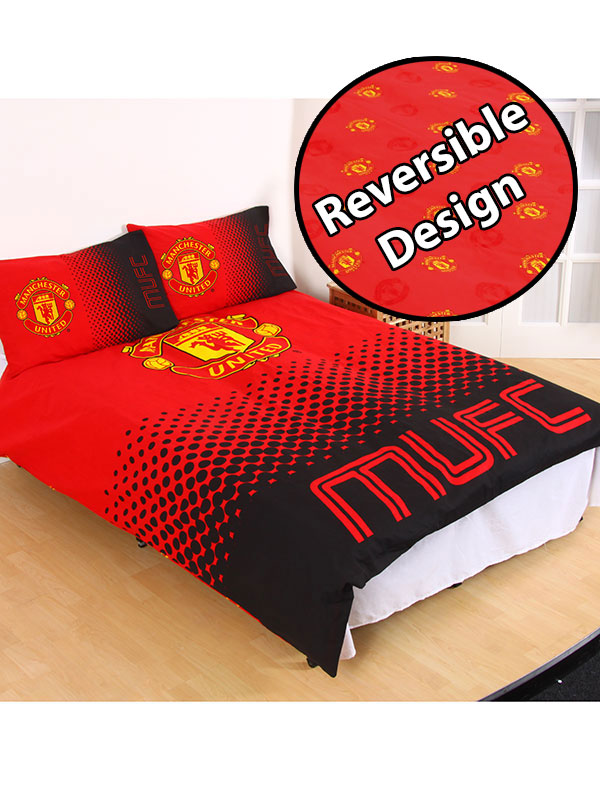 manchester united fc fade double duvet cover and pillowcase set