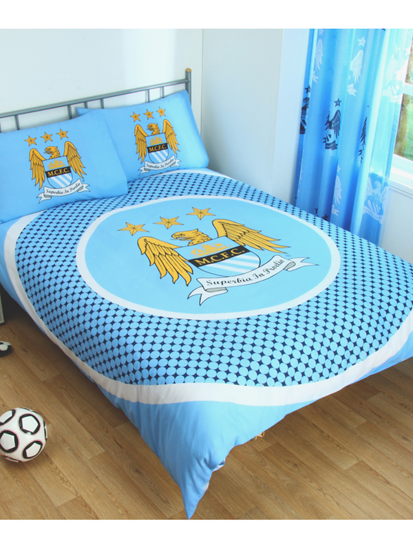 manchester city fc bullseye double reversible duvet cover set