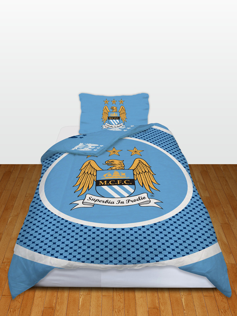 manchester city fc bullseye single reversible duvet cover and