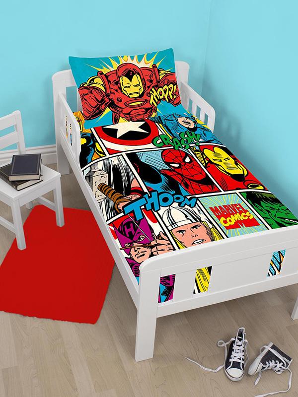 marvel comics strike junior toddler duvet cover and pillowcase set