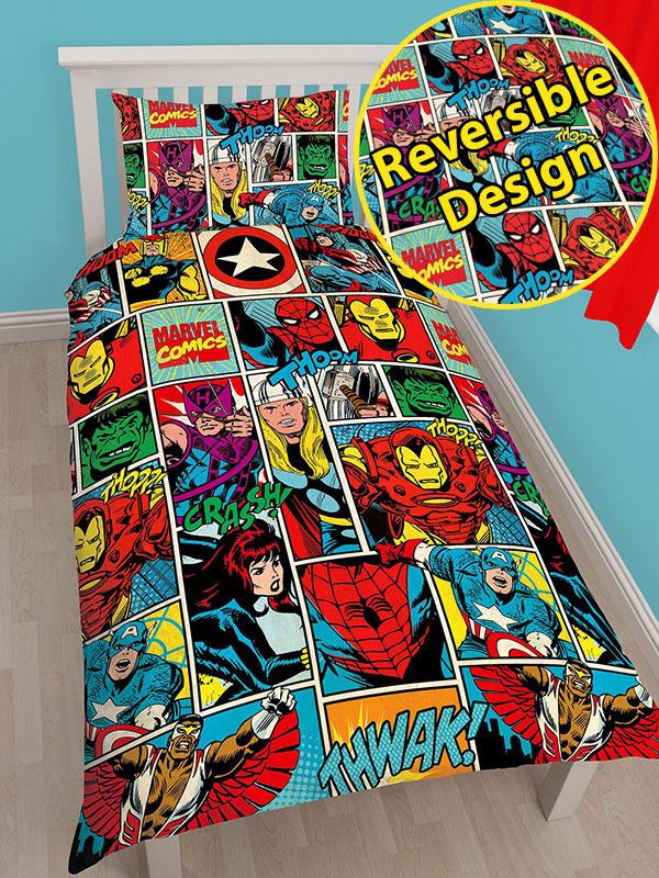 marvel comics strike single duvet cover set  rotary design