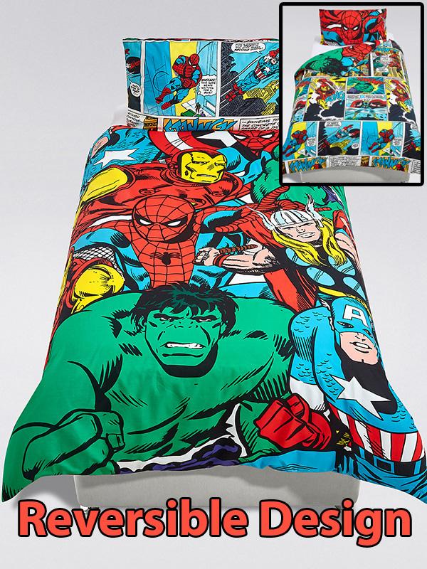 marvel avengers superheroes single duvet cover and pillowcase set