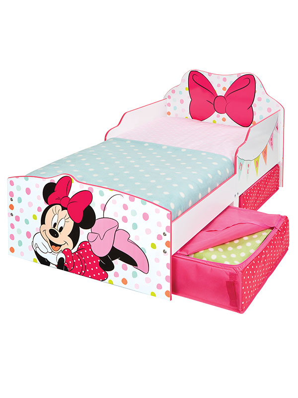 Minnie Mouse Toddler Bed with Sprung Mattress and Storage