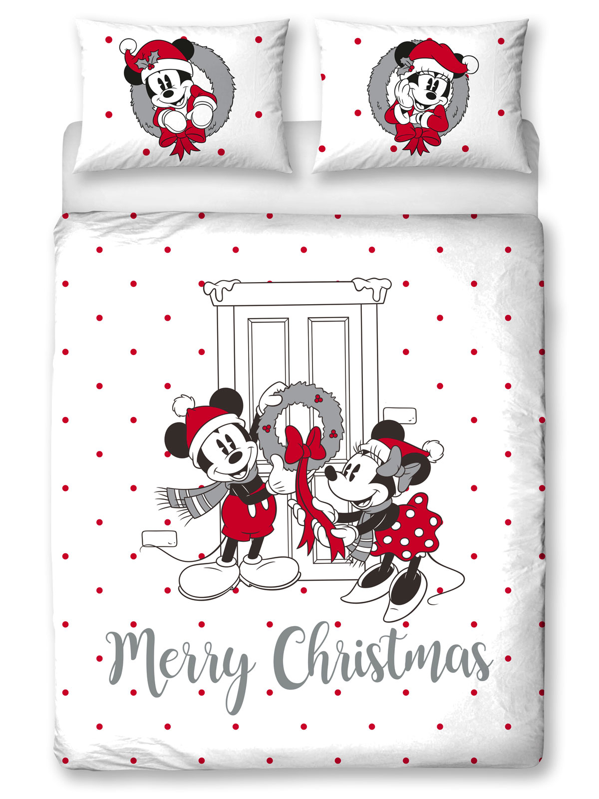 Mickey and Minnie Mouse Cozy Christmas Double Duvet Cover Set