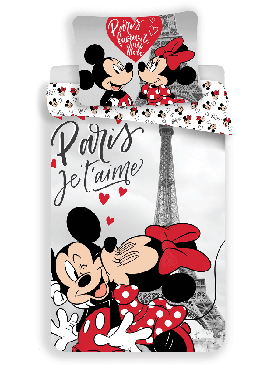 Mickey & Minnie Mouse Paris Single Duvet Cover Set - European Size
