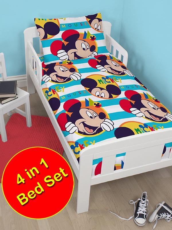 mickey mouse boo 4 in 1 junior bedding bundle set (duvet + pillow +