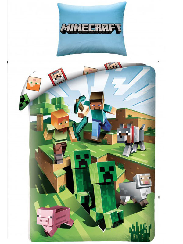 Minecraft Battle Single Cotton Duvet Cover Set