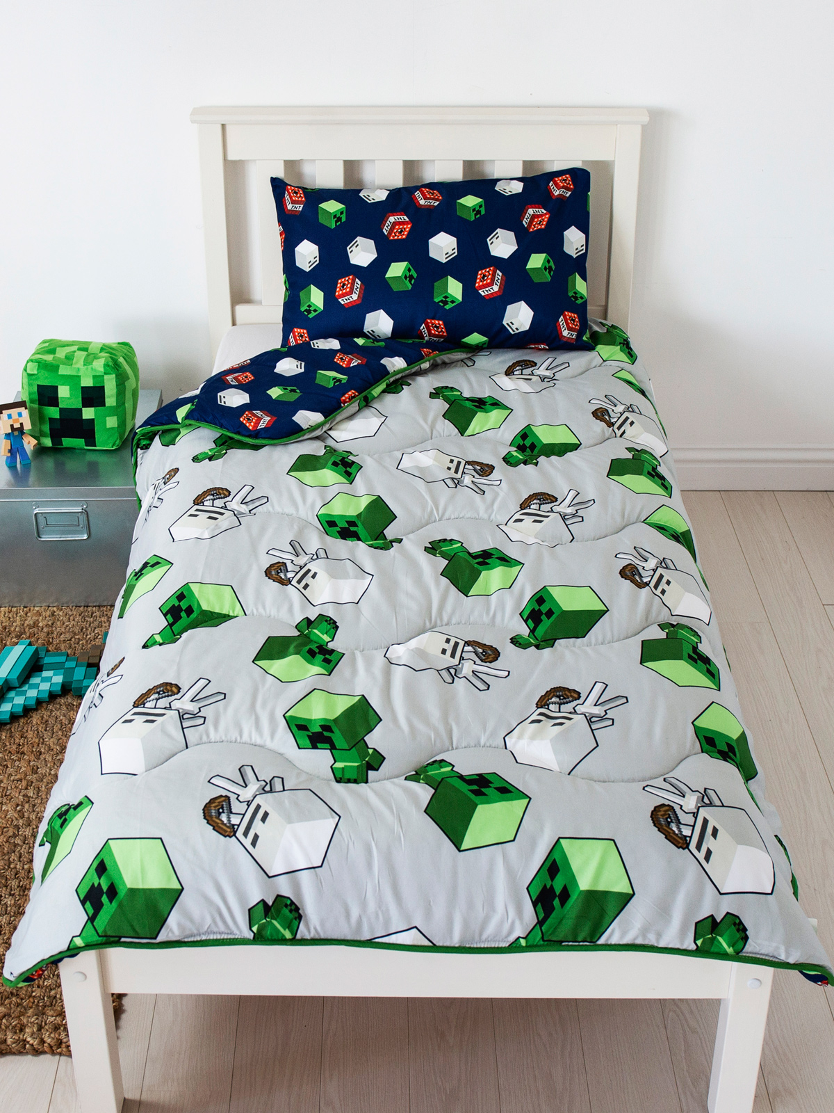 Minecraft Build Coverless Single 10.5 Tog Quilt and Pillowcase Set