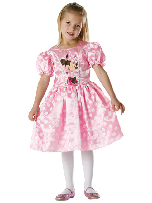 Minnie Mouse Classic Pink Costume Childs Fancy Dress Large
