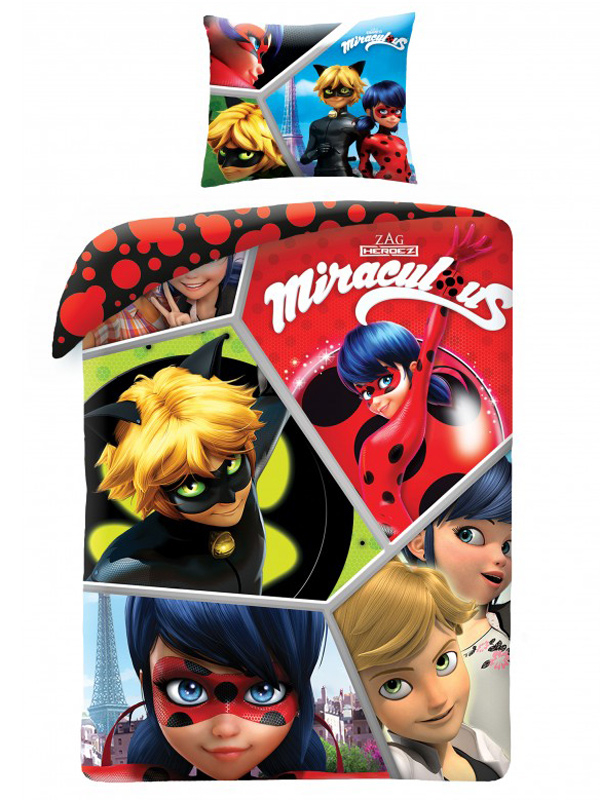 Miraculous Hero Single Duvet Cover and Pillowcase Set