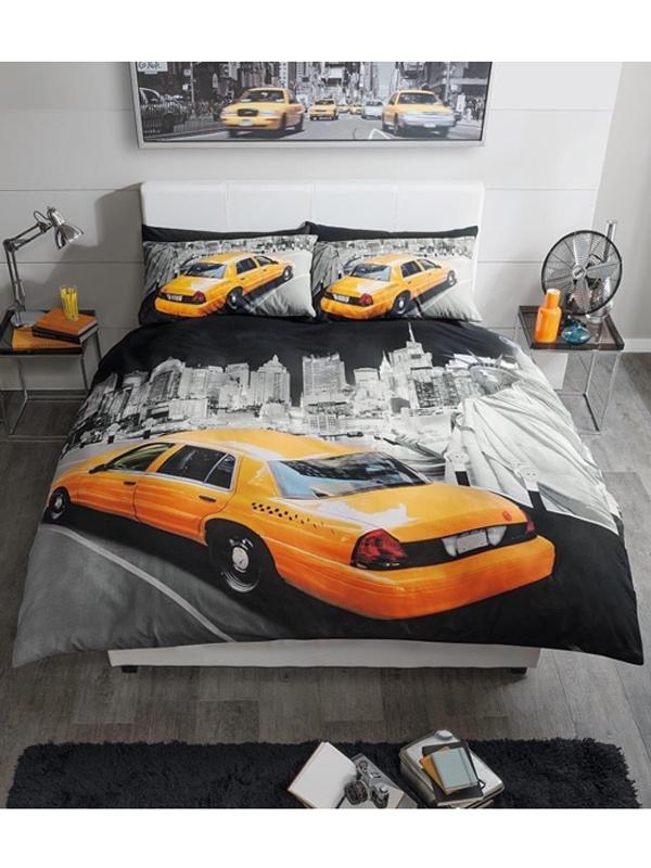 modern new york yellow cab king duvet cover set