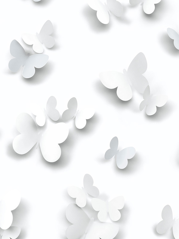 3D Butterflies Glitter Wallpaper White J92709 Muriva