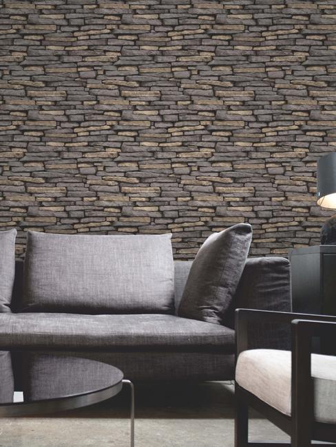 Price Right Home Natural Slate Stone Effect Wallpaper - Fine Decor