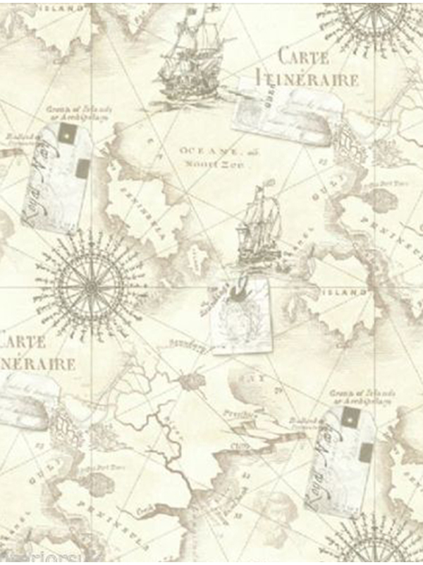 Navigator Vintage Map Neutral Wallpaper Arthouse 622003